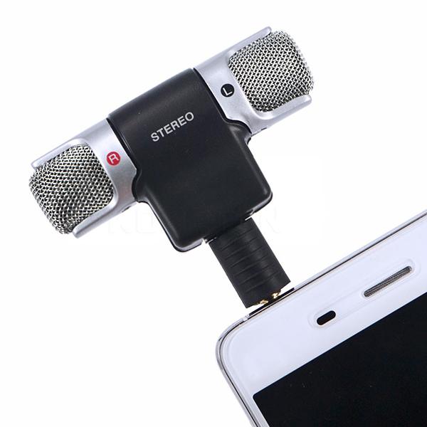 Nero Mini Microfono Stereo Digitale Mini Microfono da 3,5 mm Mini Jack per PC Notebook Portatile Registrazione Stereo Canale Destro e Sinistro