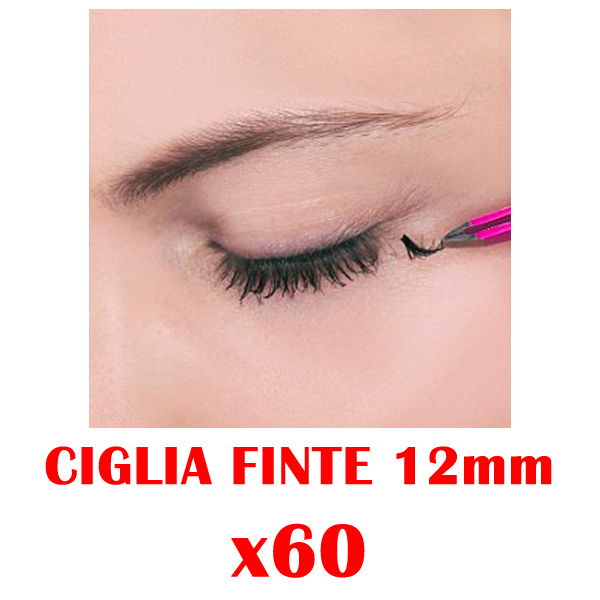 FINTE ARTIFICIALI 60 CIUFFETTI CIGLIA MAKE UP REALISTICHE MISURA 12mm dv